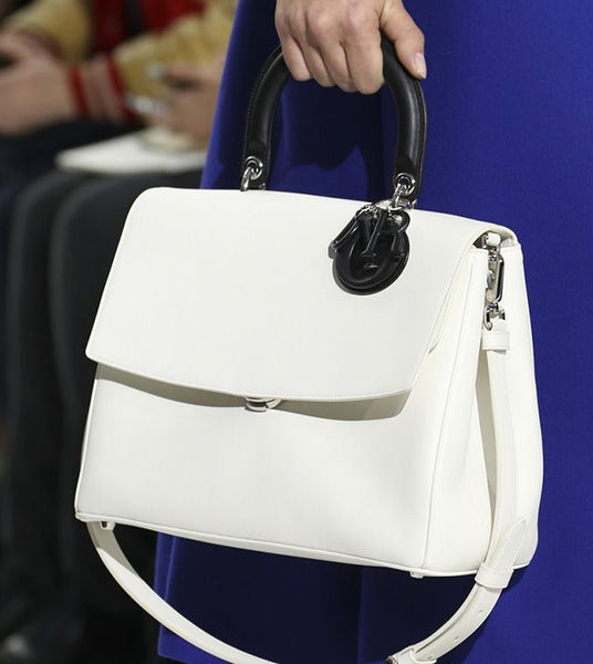 CHRISTIAN DIOR Smooth Calfskin Bicolor Small Be Dior Flap White Black Handbag LADIES