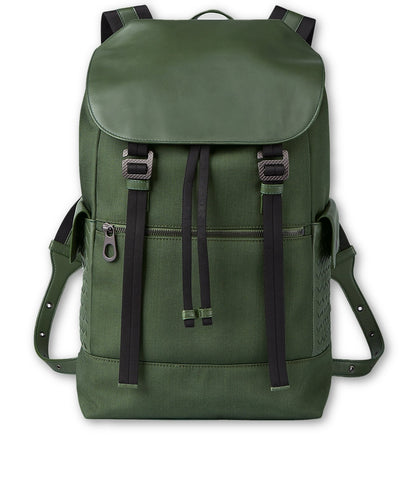 BOTTEGA VENETA 2019 FOREST HI-TECH CANVAS SASSOLUNGO BACKPACK BAG UNISEX MEN