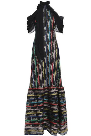 MARY KATRANTZOU Cheetah Cold-shoulder printed lamé pussy bow gown Ladies