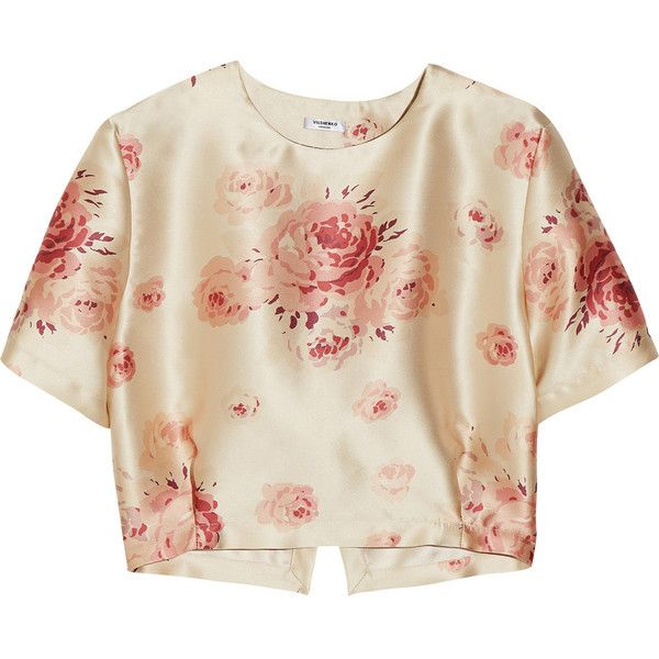 VILSHENKO Helen floral-print satin cropped Blouse Top Size UK 10 US 6 Ladies