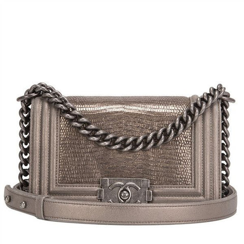 CHANEL Le Boy Metallic Lizard Iridescent Small Flap Bag Handbag in Metallic ladies
