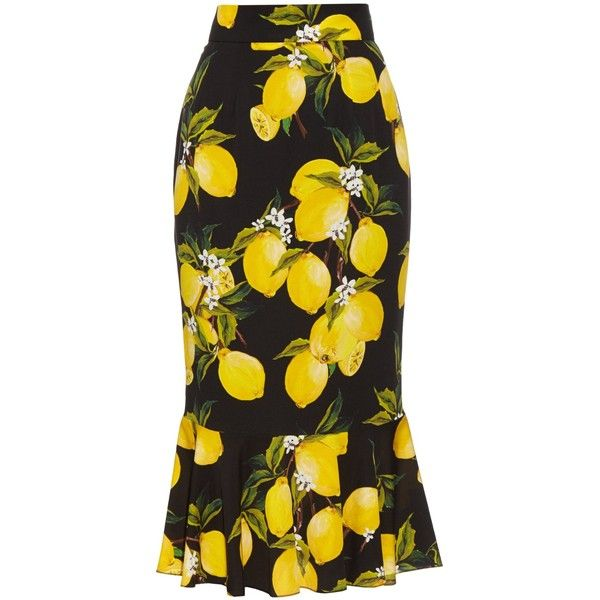 Dolce & Gabbana Lemon-print silk-blend charmeuse skirt Ladies