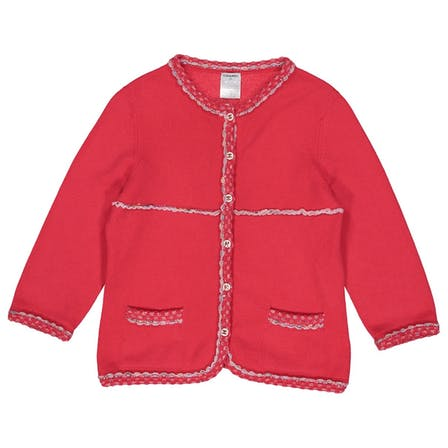 CHANEL 06P LESAGE TRIM RED CASHMERE CARDIGAN SWEATER  LADIES