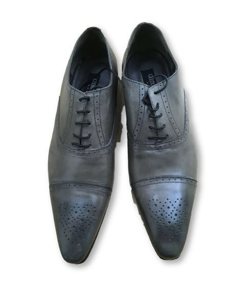 GEORGES RECH Homme Grey Leather Agostino Shoes SIZE 44  Men