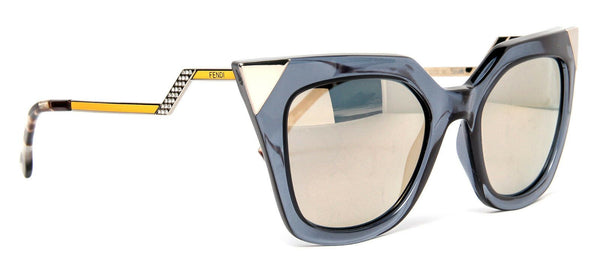 FENDI FF 0060/S MSUMV Blue Clear Stud Tipped Cat Eye Sunglasses ladies
