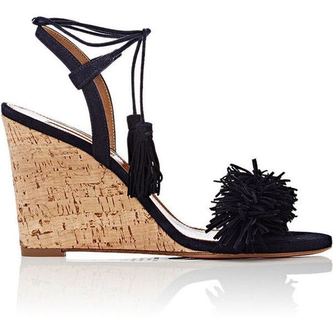 Aquazzura Navy Wild Thing Wedge Sandals Ladies
