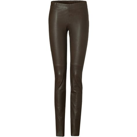 JOSEPH Choco Brown Stretch Leather Legging Pants Trousers Size F 38 ladies