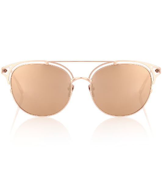 LINDA FARROW Women's Metallic 682 C3 Browline ROSE GOLD SUNGLASSES ladies