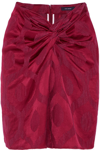 ISABEL MARANT Runway Sophy twist-front satin-jacquard skirt  Ladies