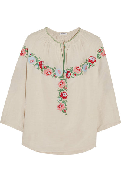 VILSHENKO Harper embroidered slub linen and silk-blend blouse  Ladies