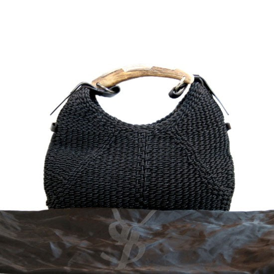 Yves Saint Laurent YSL Black Mombassa Horn Macramé Bag Handbag Ladies