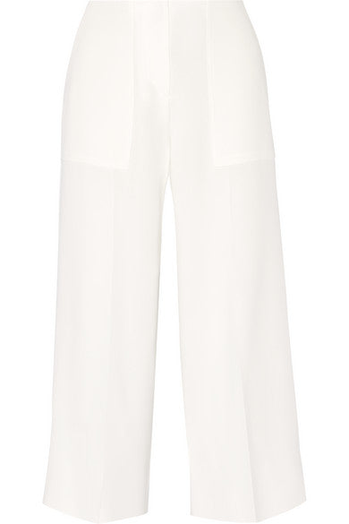 THEORY white Ambrisia cropped crepe wide-leg pants trousers US 2 UK 6 XS Ladies
