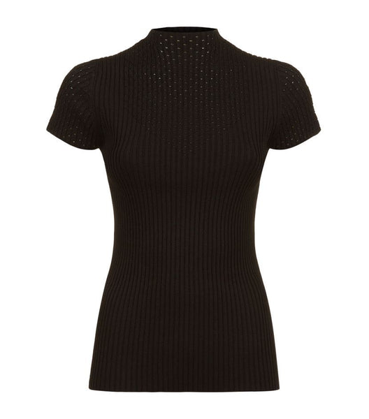 MAJE Black Maestry Mock Neck Top Ribbed Knit Top SIZE 3 Large ladies