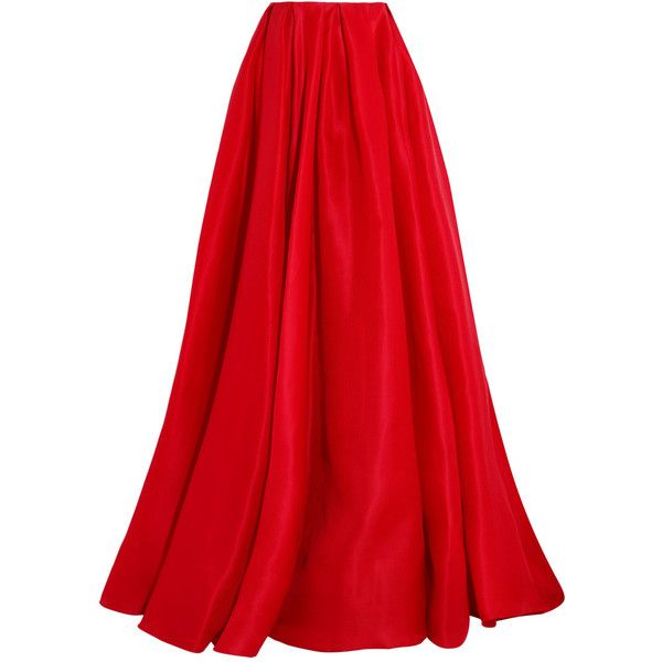RALPH LAUREN RED SILK SATIN FULL LENGTH DRAWSTRING MAXI SKIRT Ladies