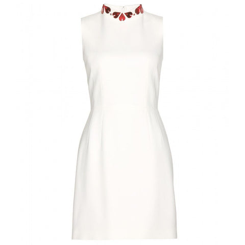 Alexander McQueen White Sleeveless Heart-Embellished Dress Ladies
