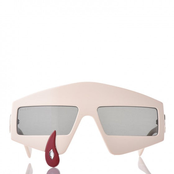 GUCCI Acetate Crystal Hollywood Forever Tear Drop Sunglasses GG0359S Ivory ladies