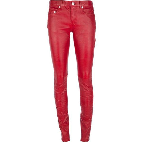 SAINT LAURENT Red Skinny stretch-leather pants Size F 38 UK 10 US 6 LADIES
