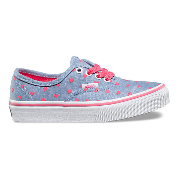 VANS KIDS CHAMBRAY HEARTS AUTHENTIC GIRLS' SHOES CHILDREN