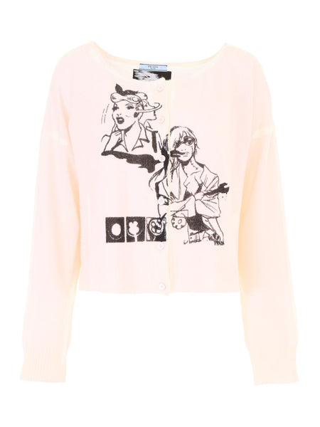 Prada Intarsia cashmere manga comic books cardigan I 42 UK 10 US 6 LADIES
