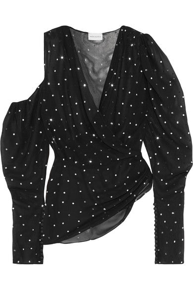 MAGDA BUTRYM Dresden metallic polka-dot silk-blend blouse top Ladies