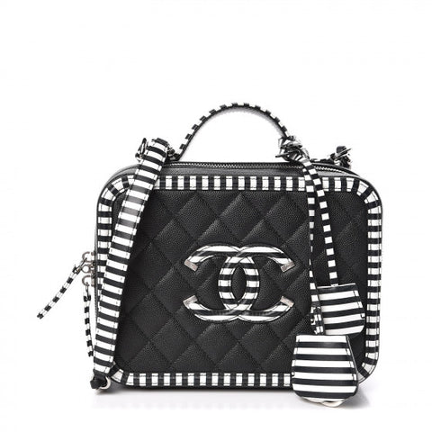 CHANEL 2019 Caviar Quilted Striped Medium CC Filigree Vanity Case Black White ladies