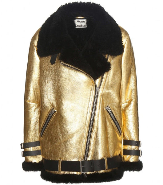 ACNE STUDIOS Velocite Metallic Jacket shearling fur coat 32 UK 4 US 0 ladies