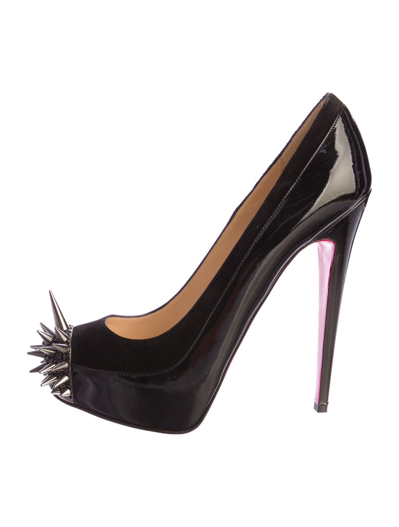 Sold Out CHRISTIAN LOUBOUTIN Asteroid 140 suede and patent-leather pumps shoes  39 1/2 Ladies