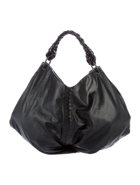 Bottega Veneta ® INTRECCIATO-TRIMMED BLACK SOFT LEATHER HOBO BAG HANDBAG Ladies