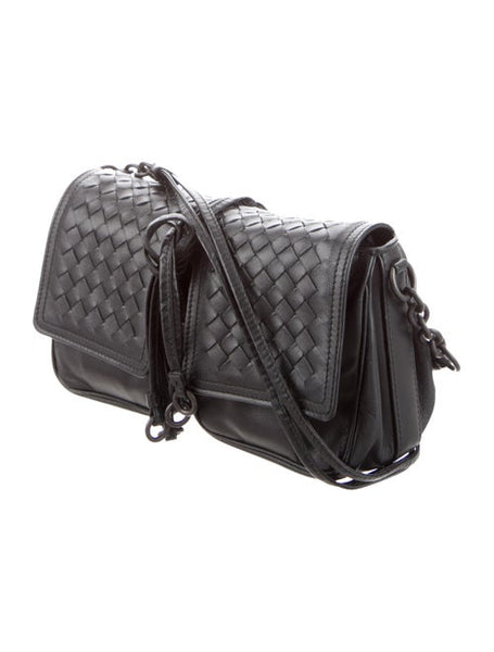 Bottega Veneta Black Intrecciato Shoulder Bag Messanger Bag Handbag Ladies