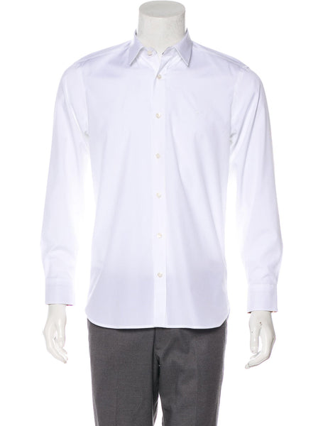 "BURBERRY LONDON LONG SLEEVE BUTTON-UP WHITE SHIRT SIZE 15 3/4 40"" Men"
