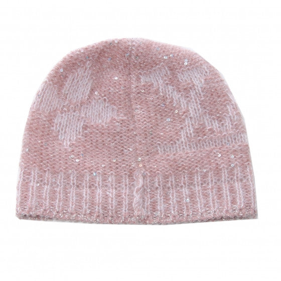 LOUIS VUITTON HAT PINK MONOGRAM SEQUINS  MOHAIR HAT LADIES