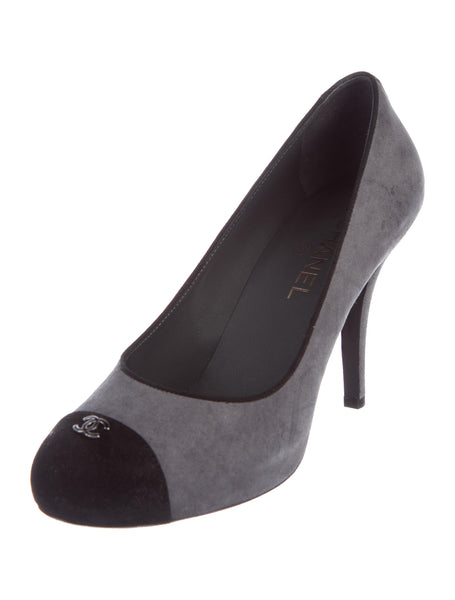 CHANEL Grey Cc Cap Toe Suede Leather Pumps SHOES Ladies