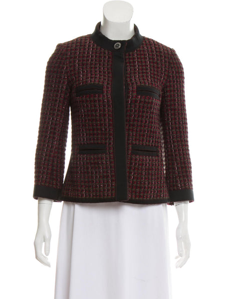 CHANEL Burgundy Fantasy Tweed Jacket 15K Blazer Ladies
