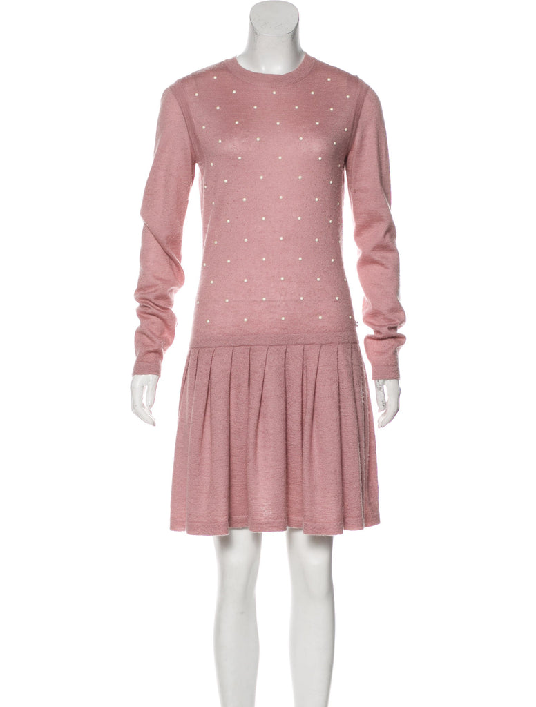 Chanel 2014 Knitted Cashmere Mohair Sweater Dress- Pearls Galore Size F 44 US 12 Ladies