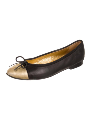 CHANEL LIMITED EDITION CC GOLD BLACK FLATS SHOES Ladies