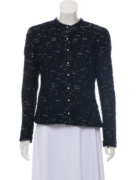 CHANEL Metallic Tweed Jacket Pearls Embellishe  Ladies