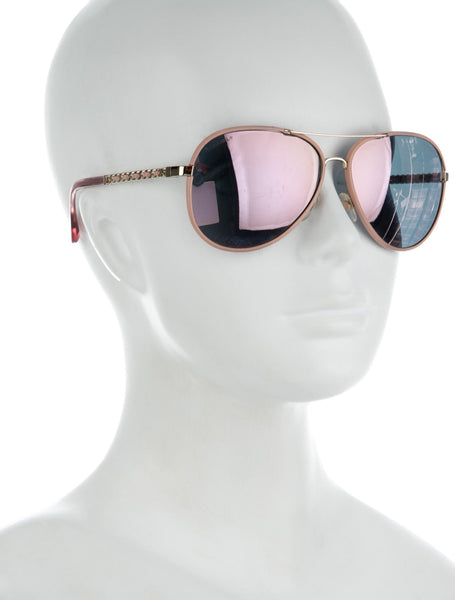 Chanel Pilot Light pink & gold frame pink mirror lenses CC Women Sunglasses ladies