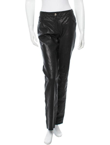 CHANEL 2008 FALL COLLECTION LEATHER PANTS TROUSERS SIZE F 40 LADIES