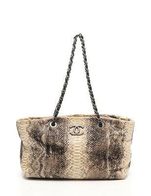CHANEL CC Limited Edition Python Shopping Bag Tote Handbag Ladies