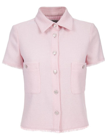CHANEL 08C 2008 Runaway Collection  Pink Wool Boucle Short Sleeves JACKET Coat * F 42 Ladies