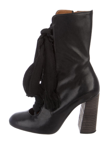 Chloé Chloe Black Leather Mid-Calf Boots Size 35 UK 2 US 5 ladies
