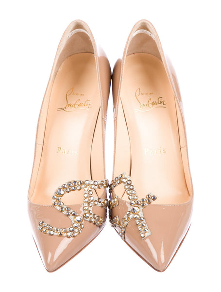 Christian Louboutin Sex 120 nude patent-leather Pumps Shoes Ladies