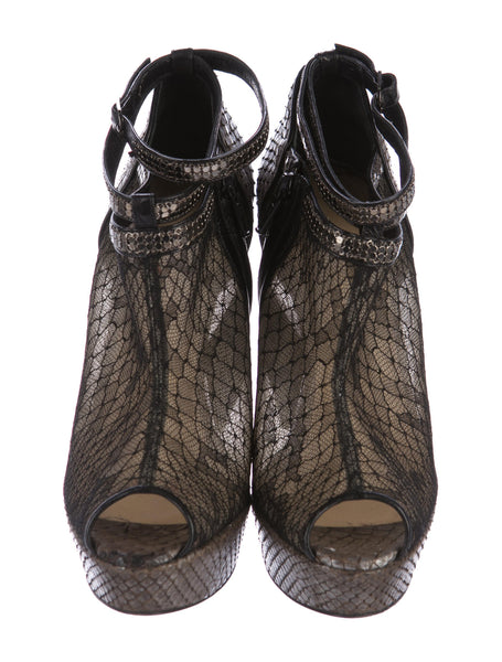 CHRISTIAN LOUBOUTIN BRIGETTE Snakeskin PYTHON LACE PEEP-TOE BOOTIES 36.5 UK 3.5 US 6.5 Ladies