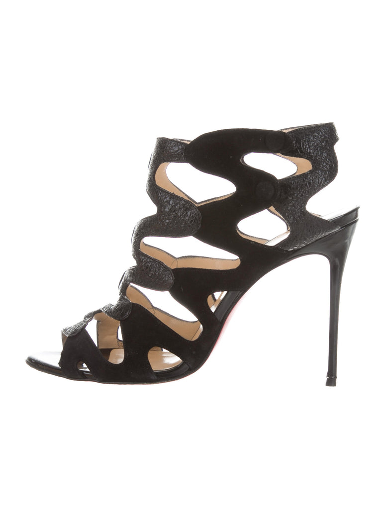 a4ee45fbeb4 Christian Louboutin Valonana 100 cage black sandals shoes 38 UK 5 US 8  Ladies