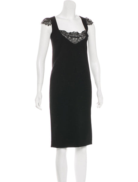 Dolce & Gabbana Lace Trim Shift Wool Dress Size I 42 Ladies