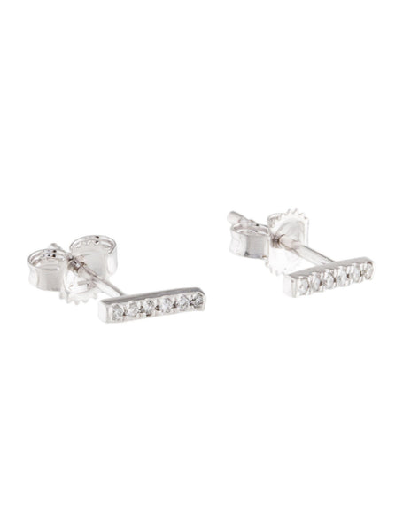 14K 14ct 585 White Gold Diamond Bar Stud Earrings LADIES