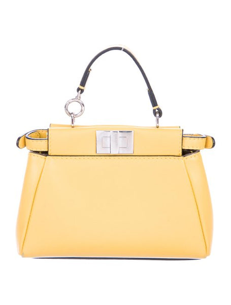 FENDI Nappa Micro Peekaboo Bag Handbag in Yellow Ladies
