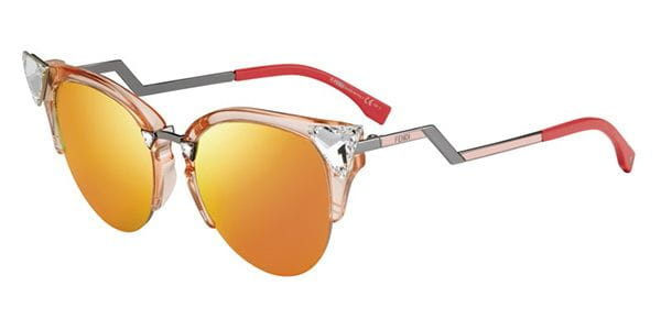 Fendi Iridia FF0041/S orange crystal cat eye polarized frame sunglasses ladies