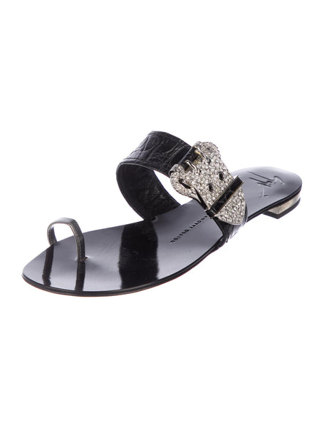 Giuseppe Zanotti Embellished Leather Sandals Flats Ladies