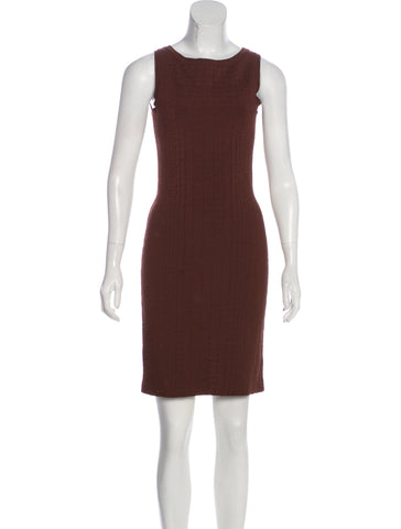 GUCCI Women's Chestnut Crocodile Knit Sheath Dress  Ladies